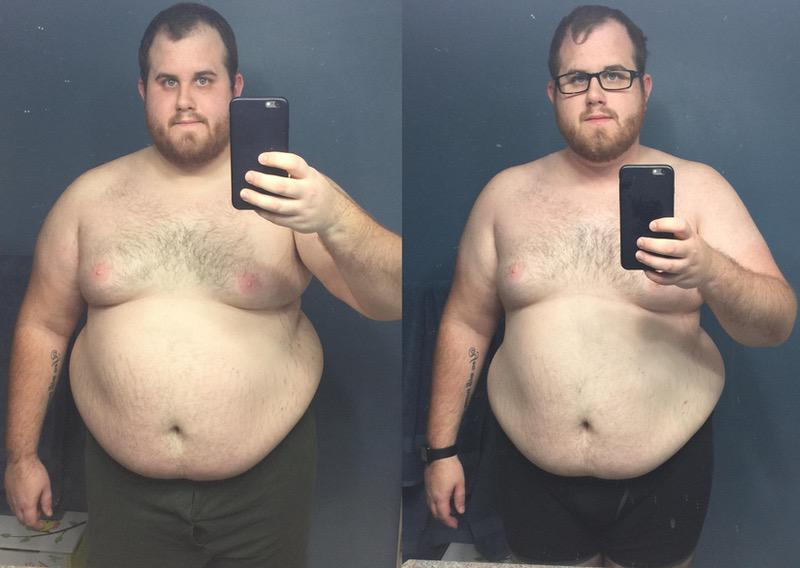 30 lbs Fat Loss Before and After 6 foot Male 354 lbs to 324 lbs