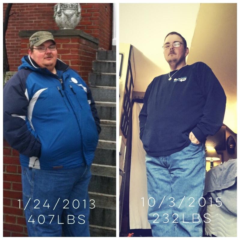 5 feet 9 Male 175 lbs Fat Loss 407 lbs to 232 lbs
