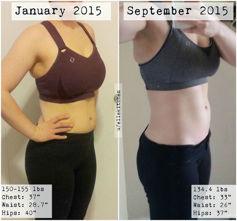 5'2 Female Before and After 21 lbs Weight Loss 155 lbs to 134 lbs