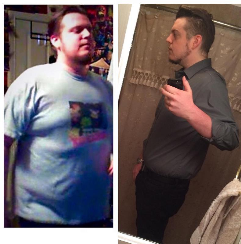 Before and After 70 lbs Fat Loss 6 foot Male 290 lbs to 220 lbs