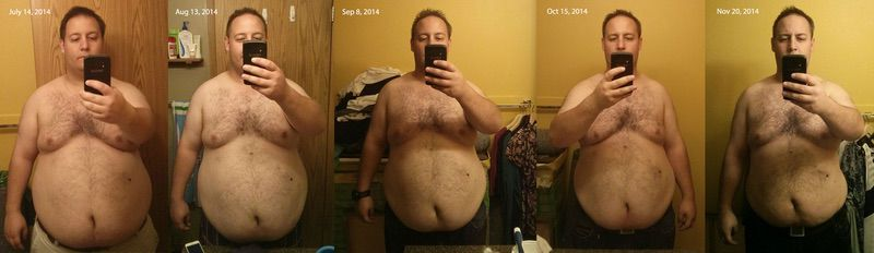 5 feet 7 Male Before and After 46 lbs Fat Loss 310 lbs to 264 lbs