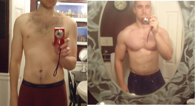 5'11 Male Before and After 37 lbs Muscle Gain 150 lbs to 187 lbs