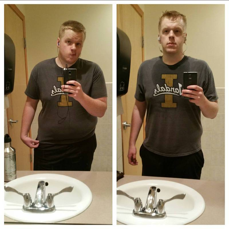 Before and After 100 lbs Fat Loss 6 feet 2 Male 360 lbs to 260 lbs