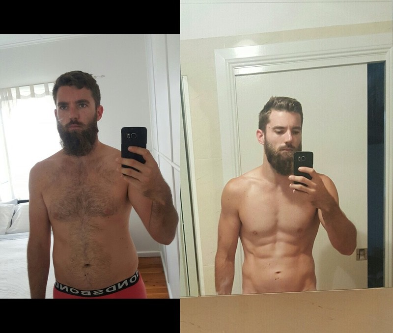 28 lbs Fat Loss Before and After 6'1 Male 208 lbs to 180 lbs