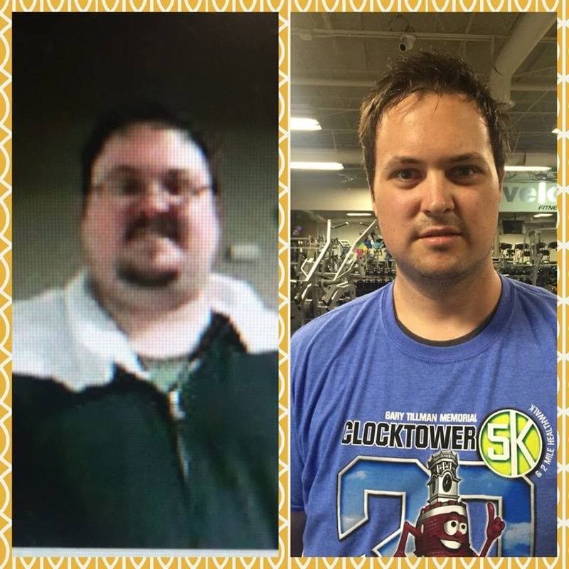 105 lbs Fat Loss Before and After 6 foot 1 Male 350 lbs to 245 lbs
