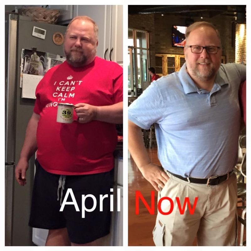 Before and After 45 lbs Weight Loss 5 feet 7 Male 289 lbs to 244 lbs