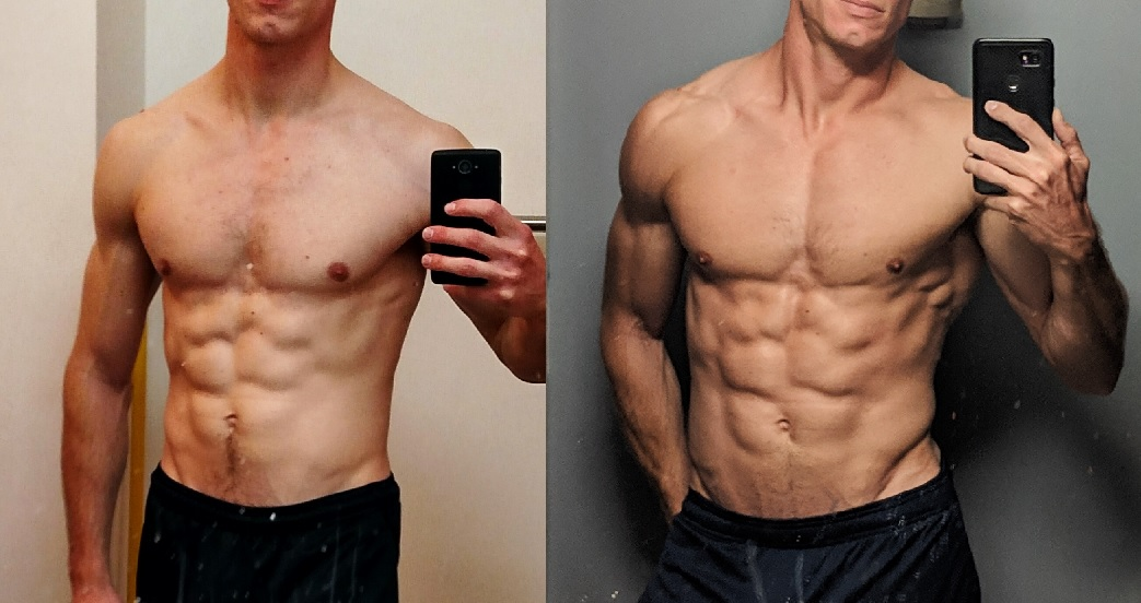 11 lbs Muscle Gain Before and After 5 feet 9 Male 135 lbs to 146 lbs