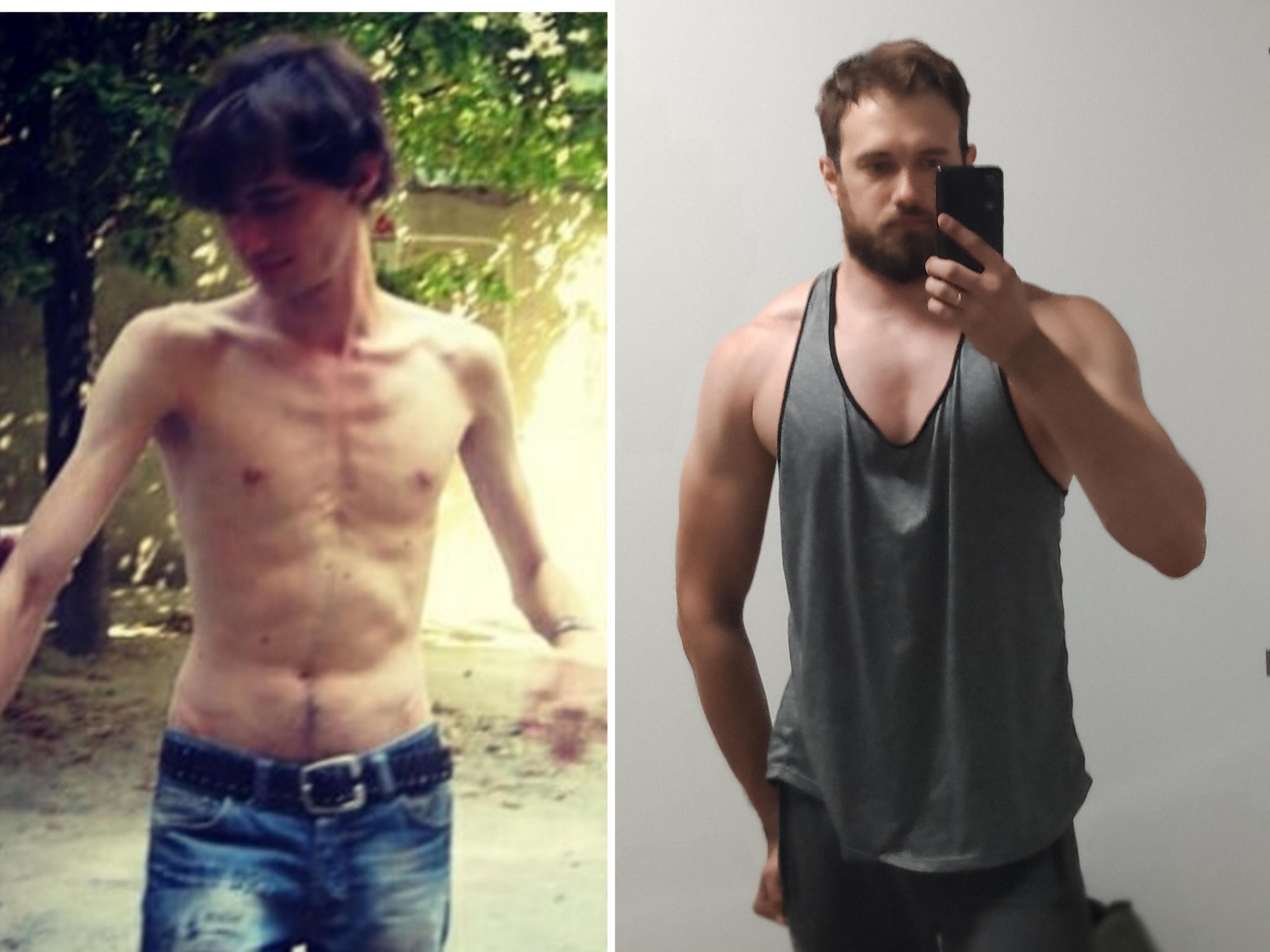 6 feet 3 Male Progress Pics of 65 lbs Muscle Gain 125 lbs to 190 lbs
