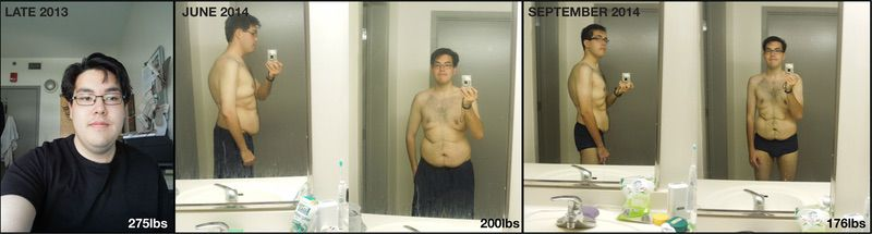 5'11 Male 99 lbs Fat Loss Before and After 275 lbs to 176 lbs