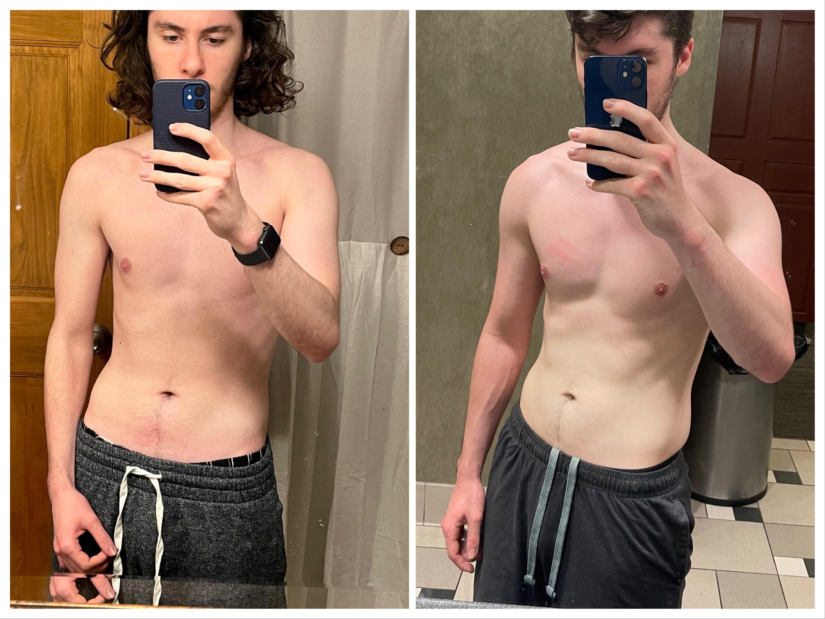 5 foot 10 Male 10 lbs Muscle Gain Before and After 145 lbs to 155 lbs