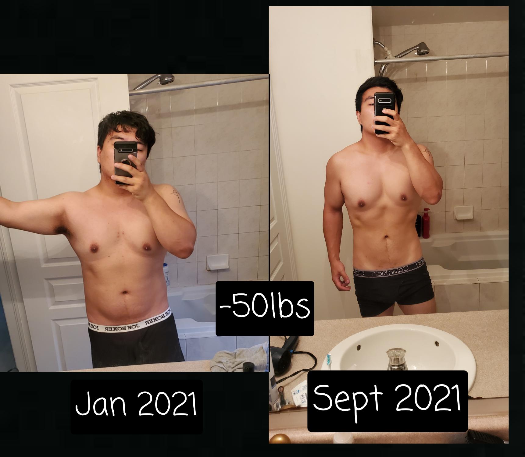 50 lbs Fat Loss 5 feet 9 Male 235 lbs to 185 lbs