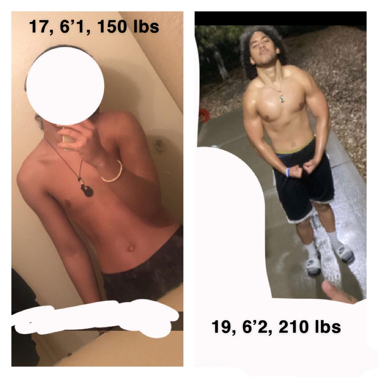 6 foot 2 Male Before and After 60 lbs Weight Gain 150 lbs to 210 lbs