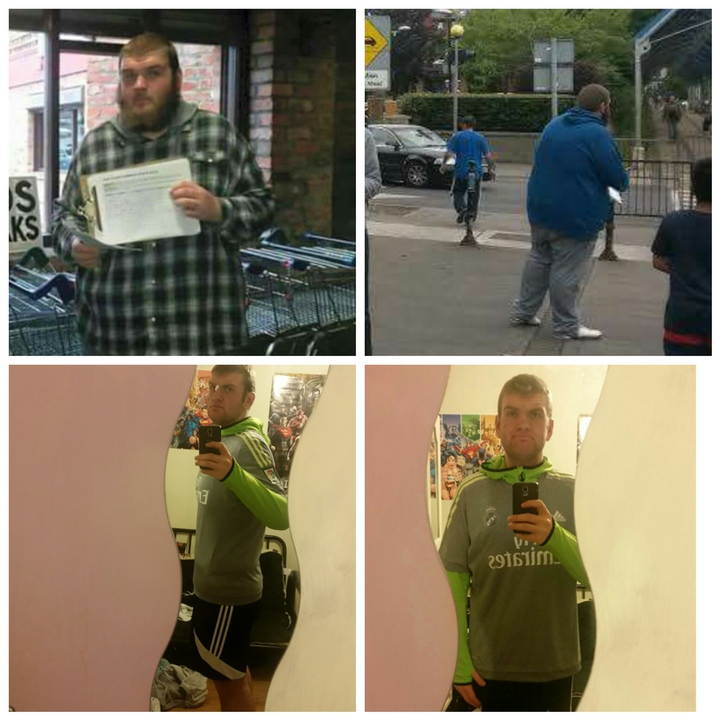 Before and After 166 lbs Fat Loss 6 feet 3 Male 389 lbs to 223 lbs