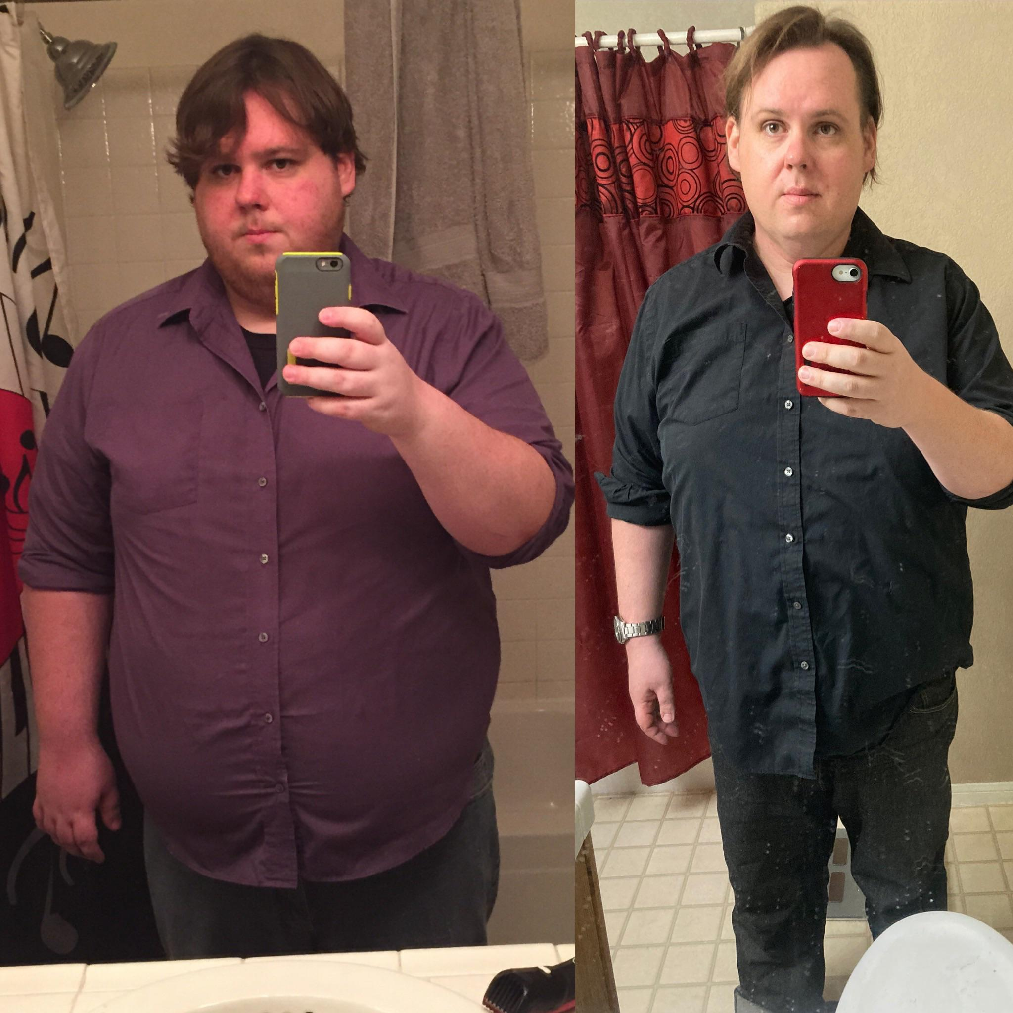 Before and After 100 lbs Fat Loss 5 feet 11 Male 380 lbs to 280 lbs