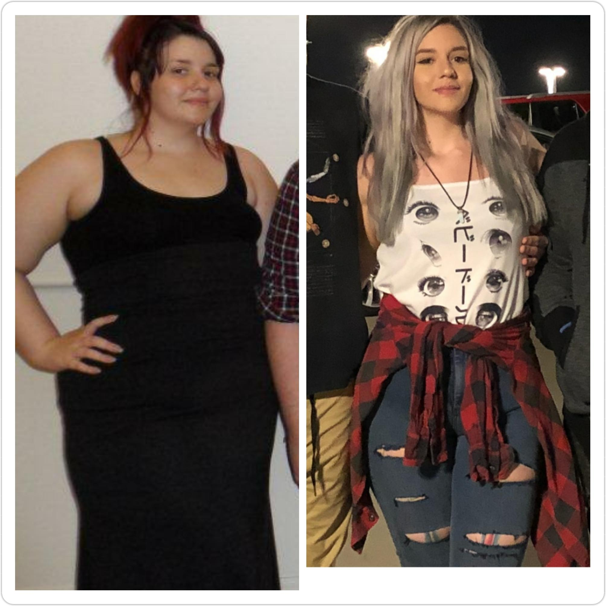 5 foot 7 Female Before and After 100 lbs Weight Loss 280 lbs to 180 lbs