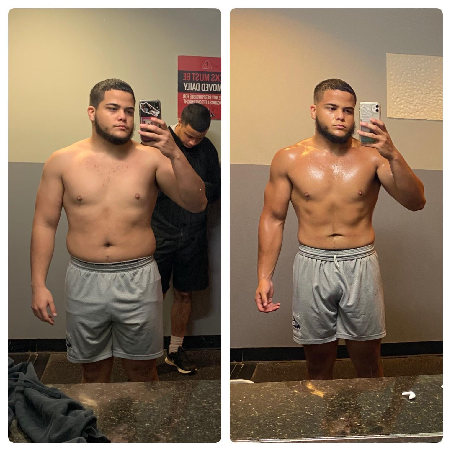 Before and After 22 lbs Weight Loss 5'5 Male 198 lbs to 176 lbs
