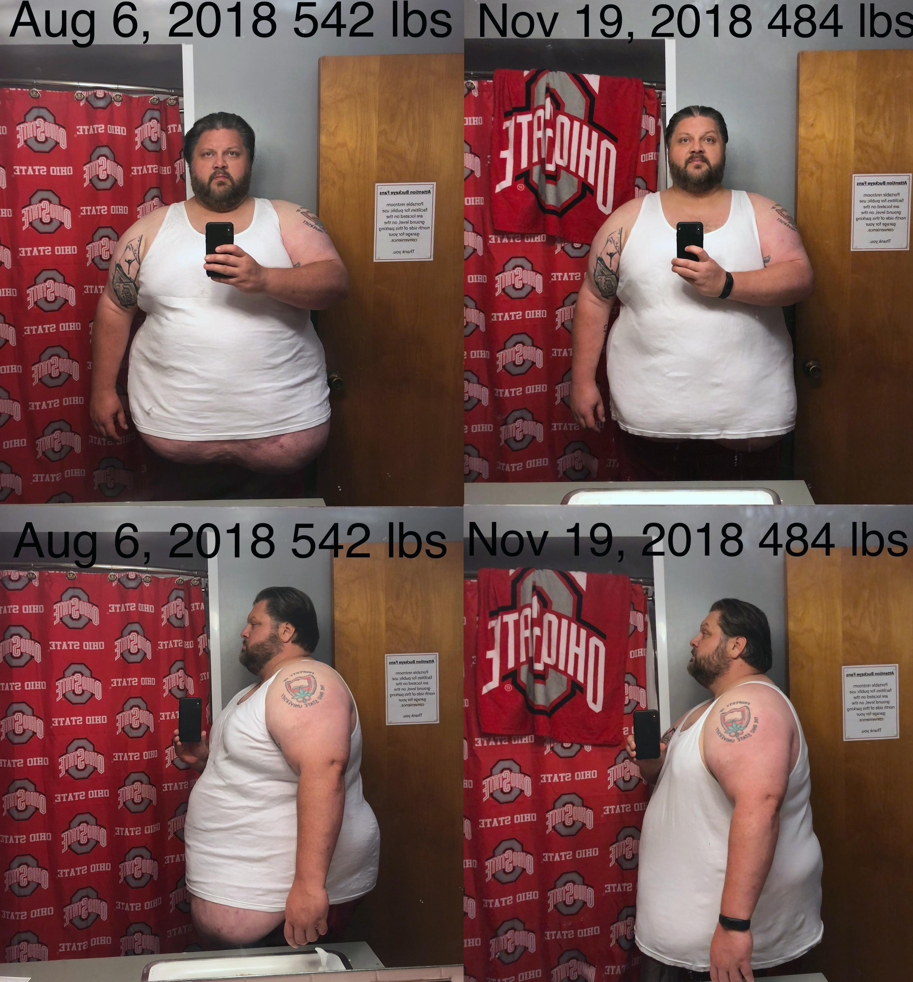58 lbs Weight Loss Before and After 6 foot 1 Male 542 lbs to 484 lbs
