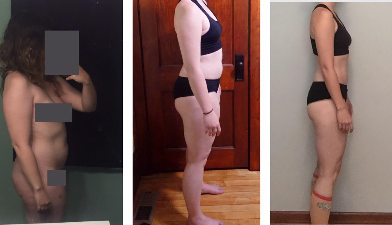 Before and After 34 lbs Fat Loss 5 foot 6 Female 168 lbs to 134 lbs