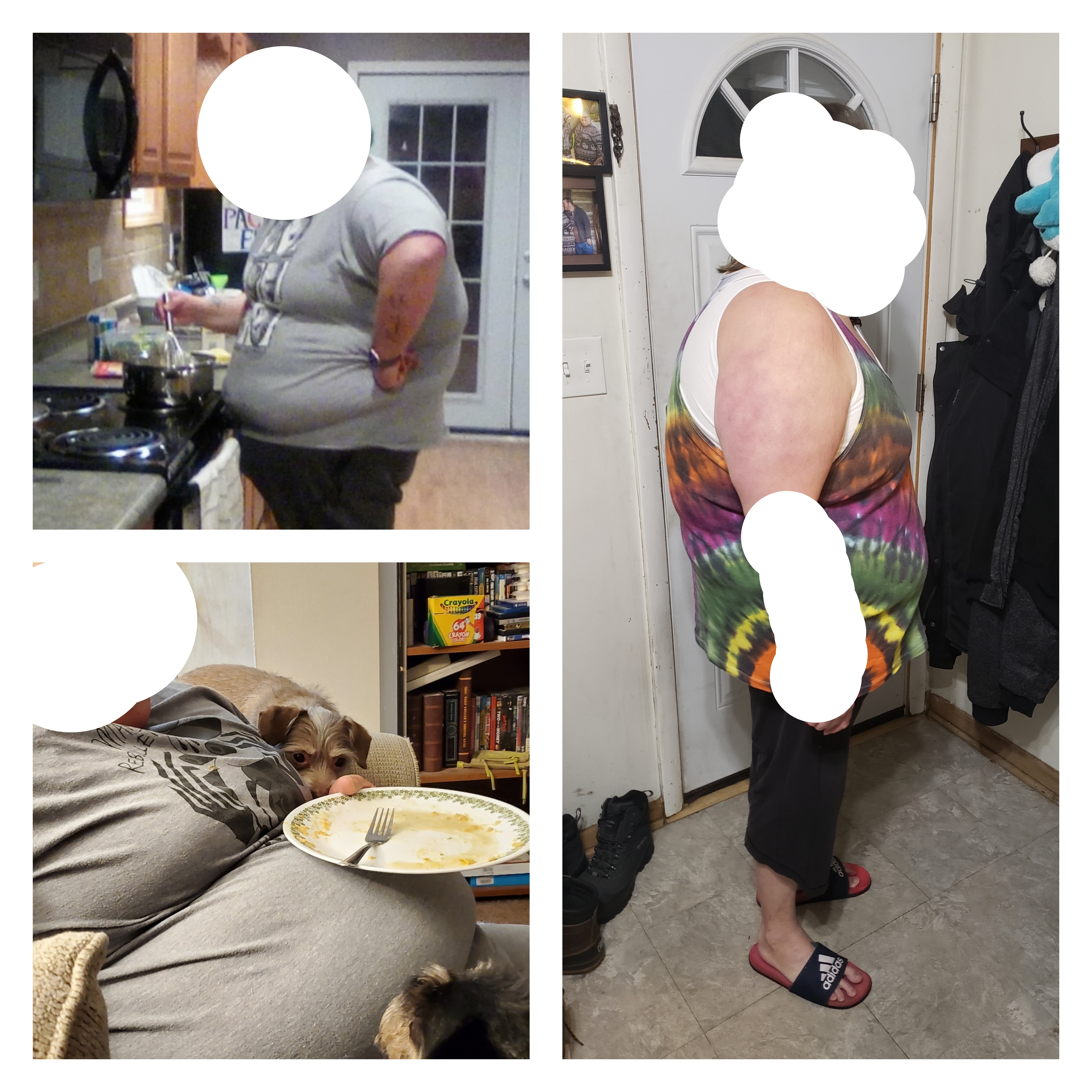 Before and After 100 lbs Fat Loss 5 foot 7 Female 392 lbs to 292 lbs