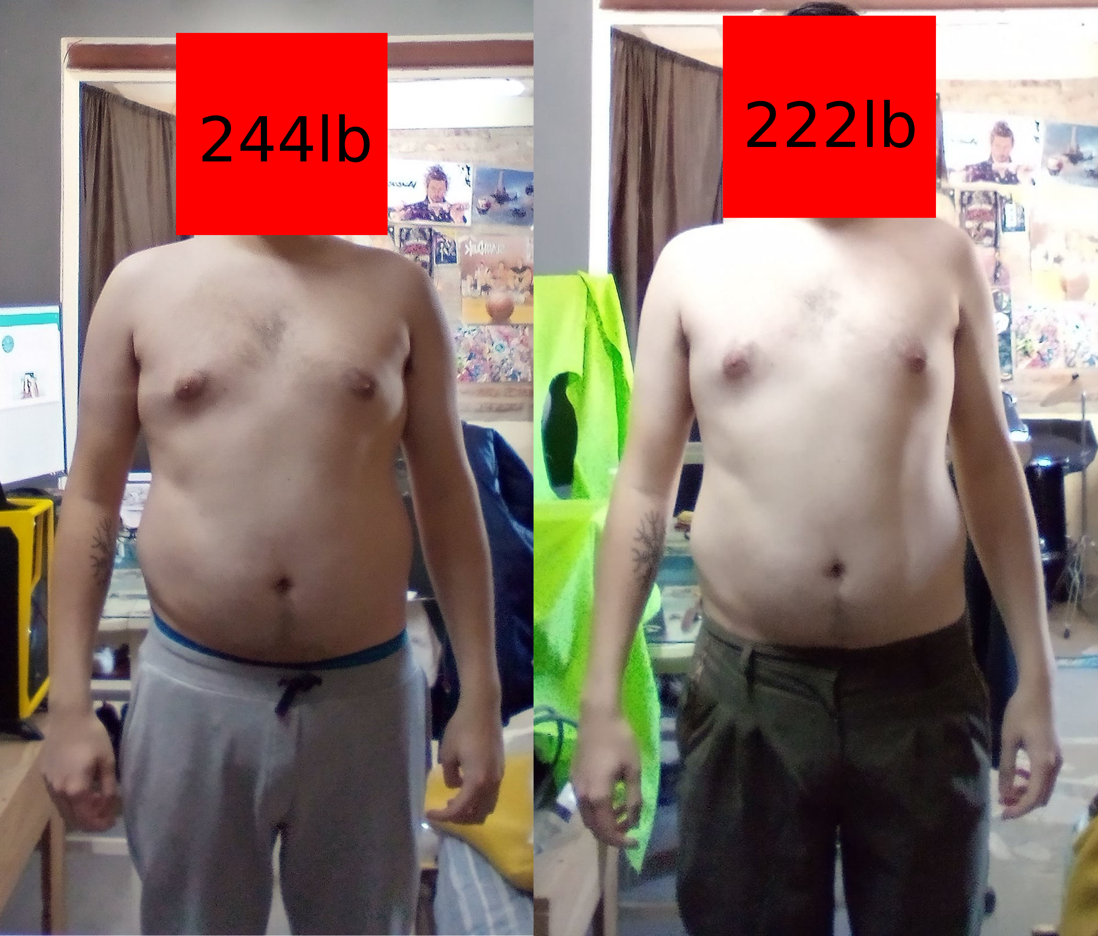 Progress Pics of 22 lbs Weight Loss 6 foot 2 Male 244 lbs to 222 lbs