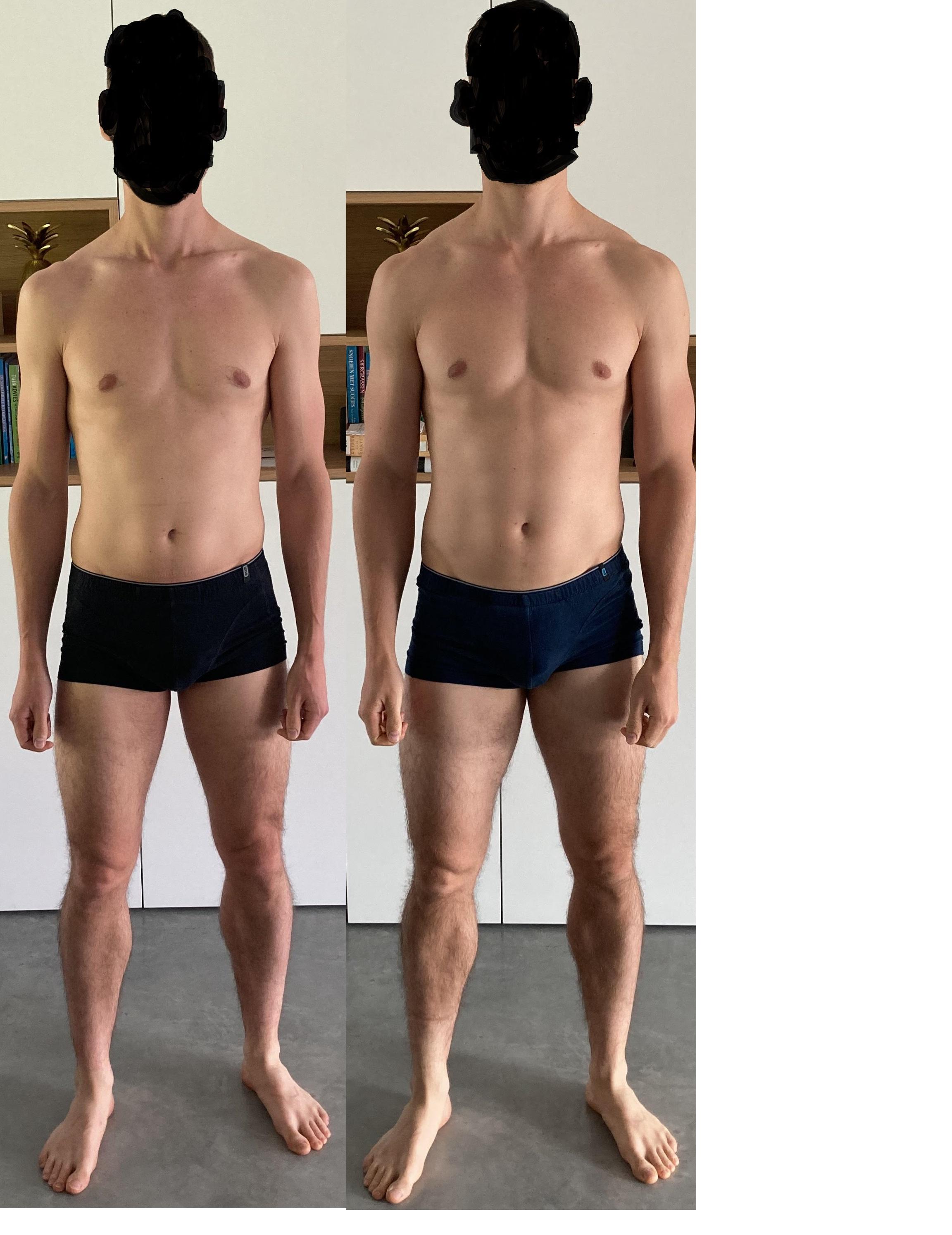 Progress Pics of 10 lbs Weight Gain 6 foot Male 165 lbs to 175 lbs