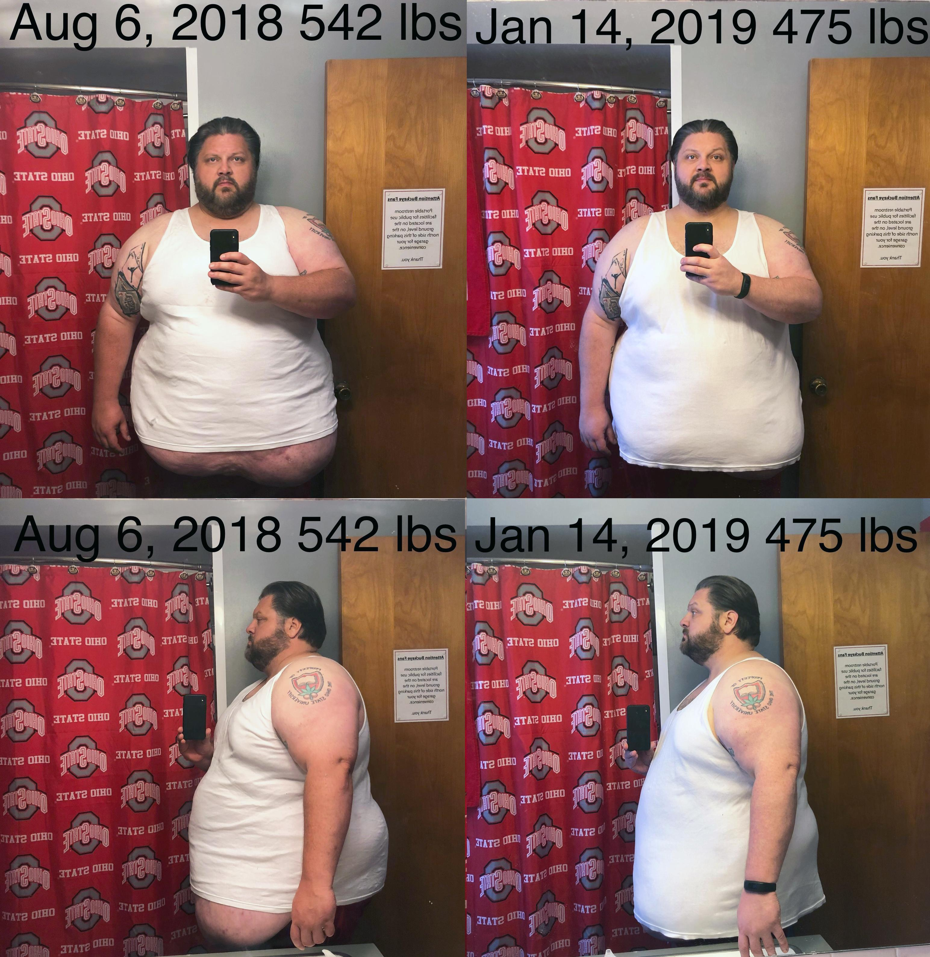 67 lbs Fat Loss Before and After 6 foot 1 Male 542 lbs to 475 lbs