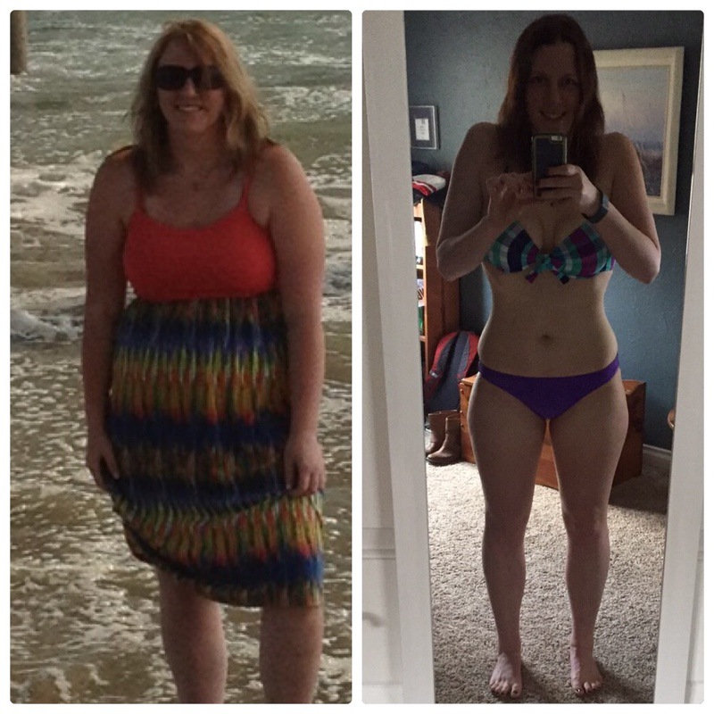 Before and After 90 lbs Fat Loss 5'9 Female 255 lbs to 165 lbs