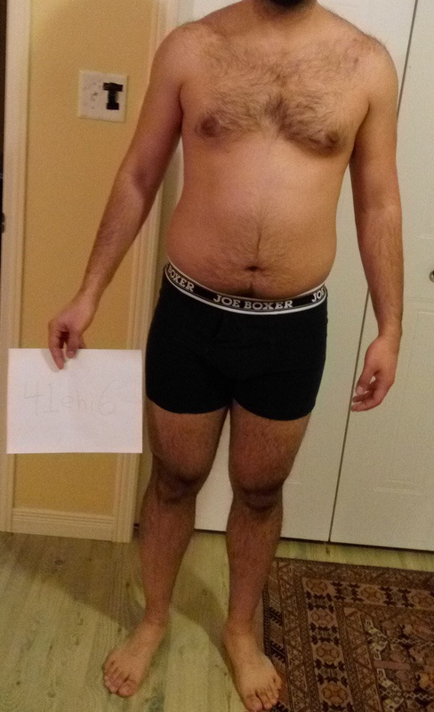 3 Photos of a 6 foot 205 lbs Male Weight Snapshot