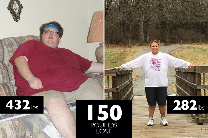 Before and After 150 lbs Fat Loss 5 feet 10 Male 432 lbs to 282 lbs