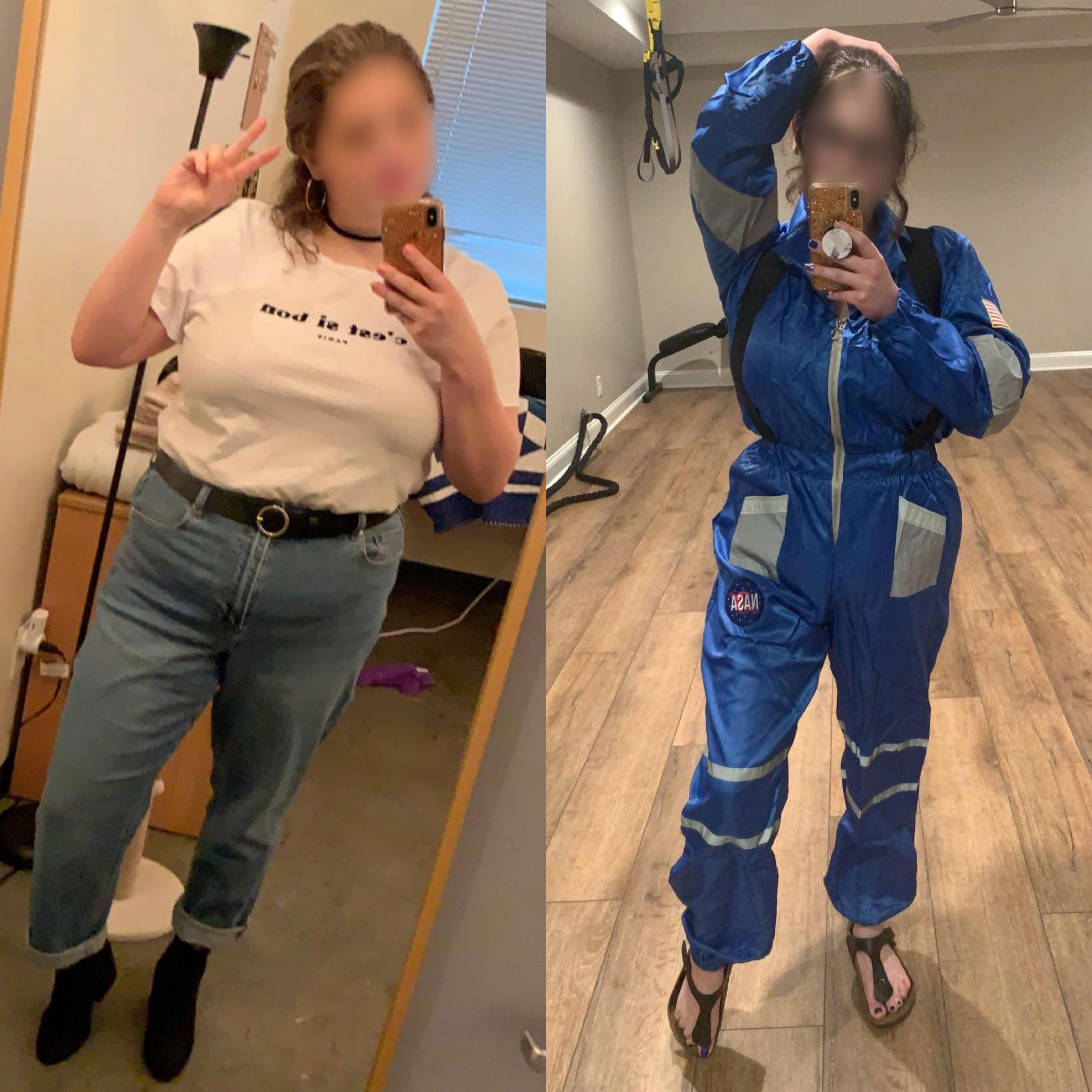 Before and After 52 lbs Fat Loss 5 foot 5 Female 208 lbs to 156 lbs