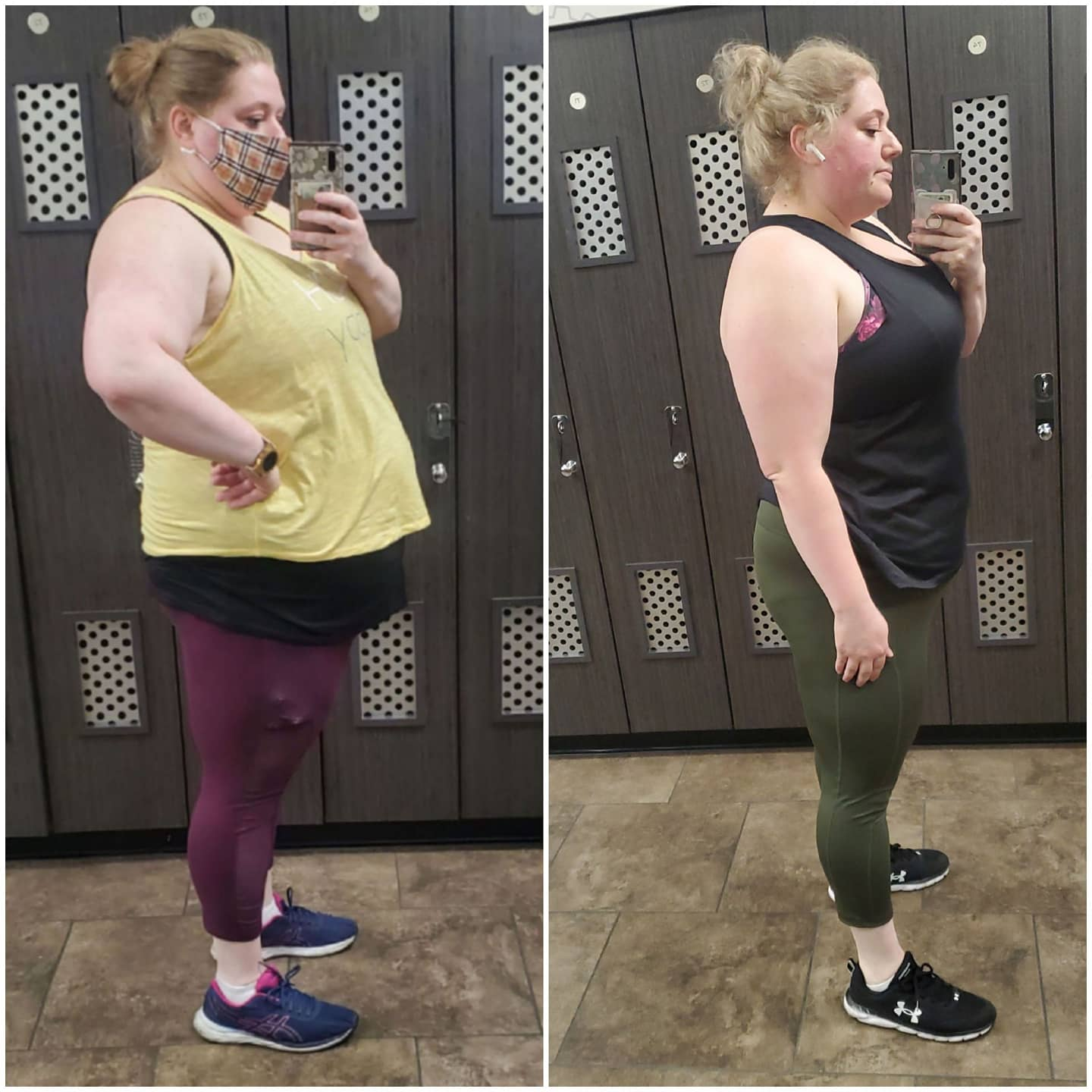 5'7 Female Before and After 75 lbs Weight Loss 325 lbs to 250 lbs