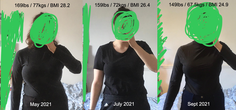 5 foot 5 Female Progress Pics of 10 lbs Fat Loss 169 lbs to 159 lbs