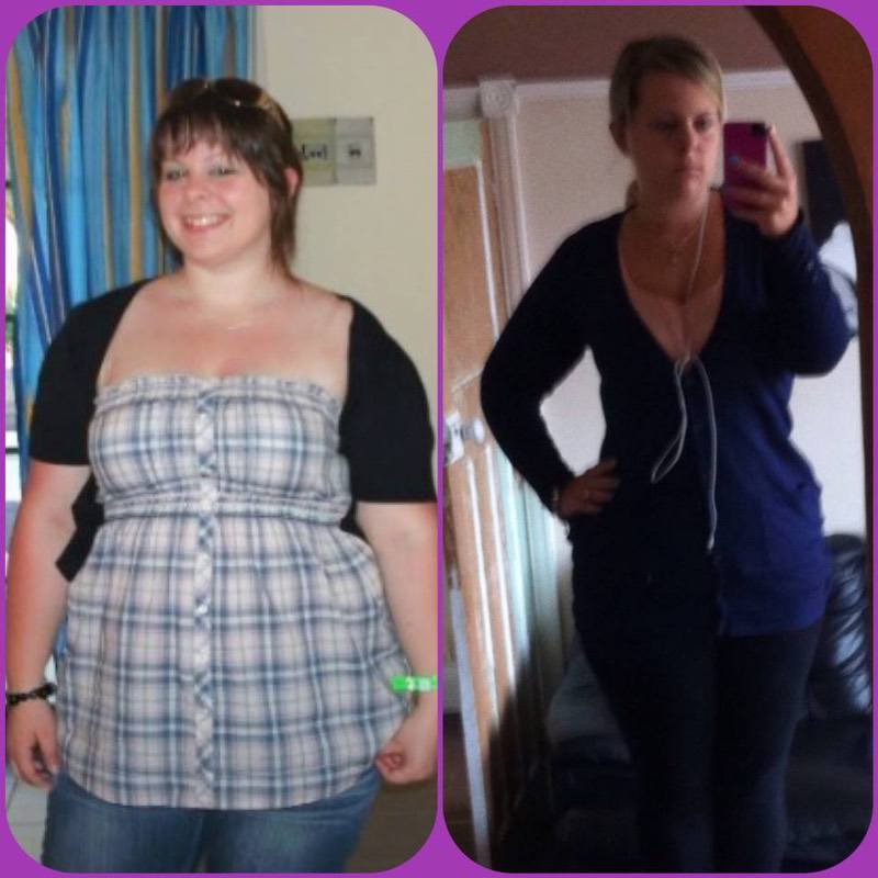 Before and After 46 lbs Fat Loss 5'3 Female 235 lbs to 189 lbs