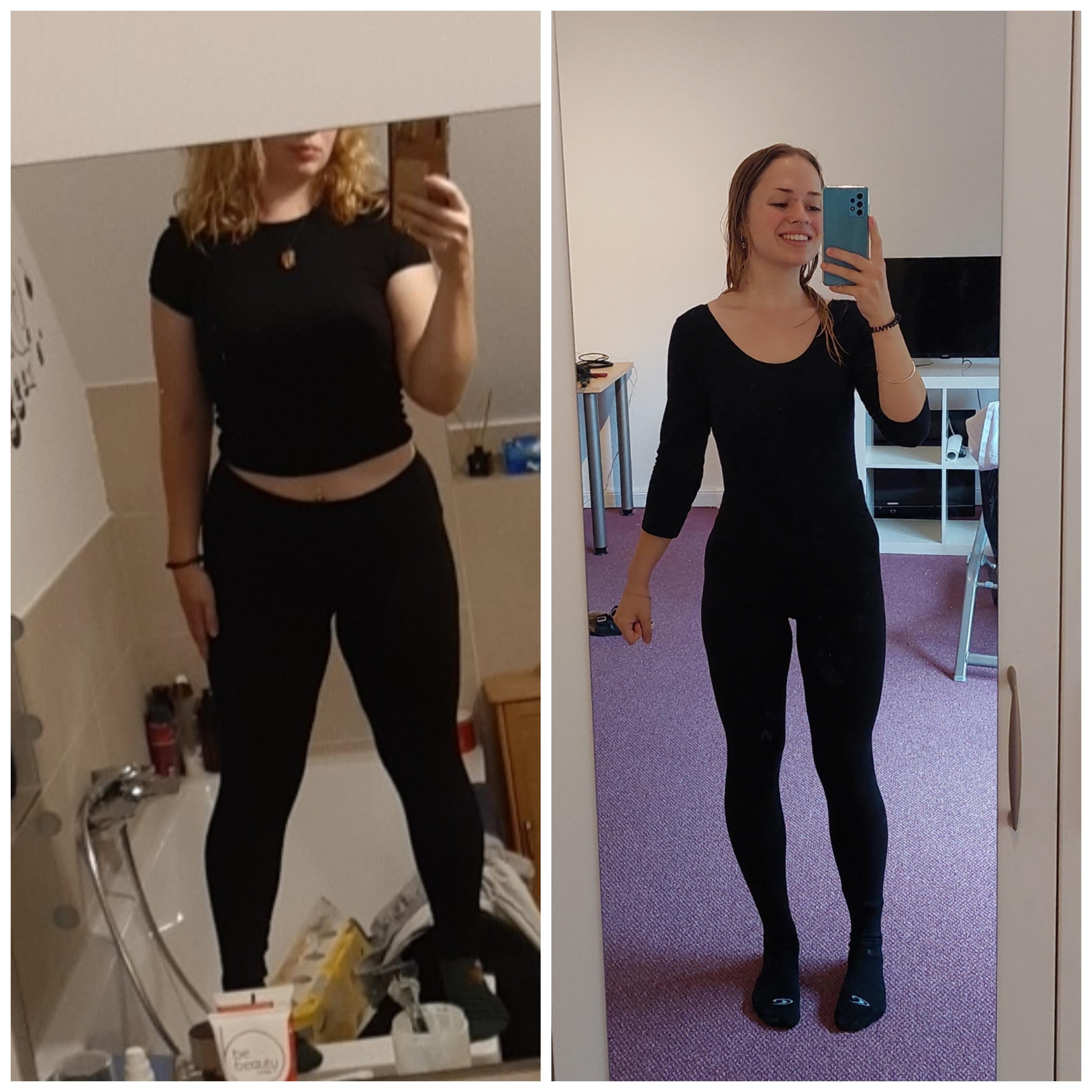 Before and After 29 lbs Fat Loss 5'2 Female 150 lbs to 121 lbs