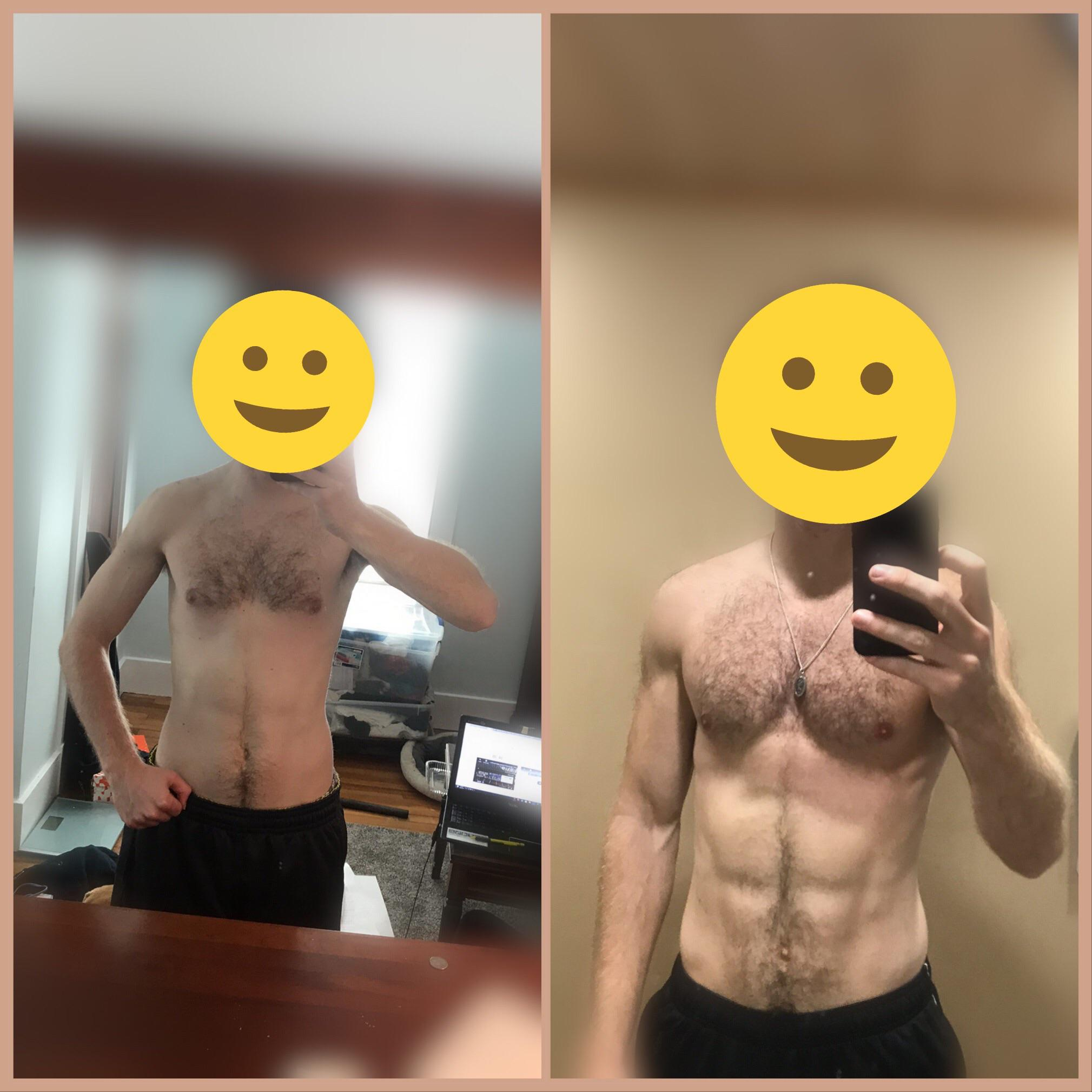 6 foot Male Progress Pics of 10 lbs Weight Gain 145 lbs to 155 lbs