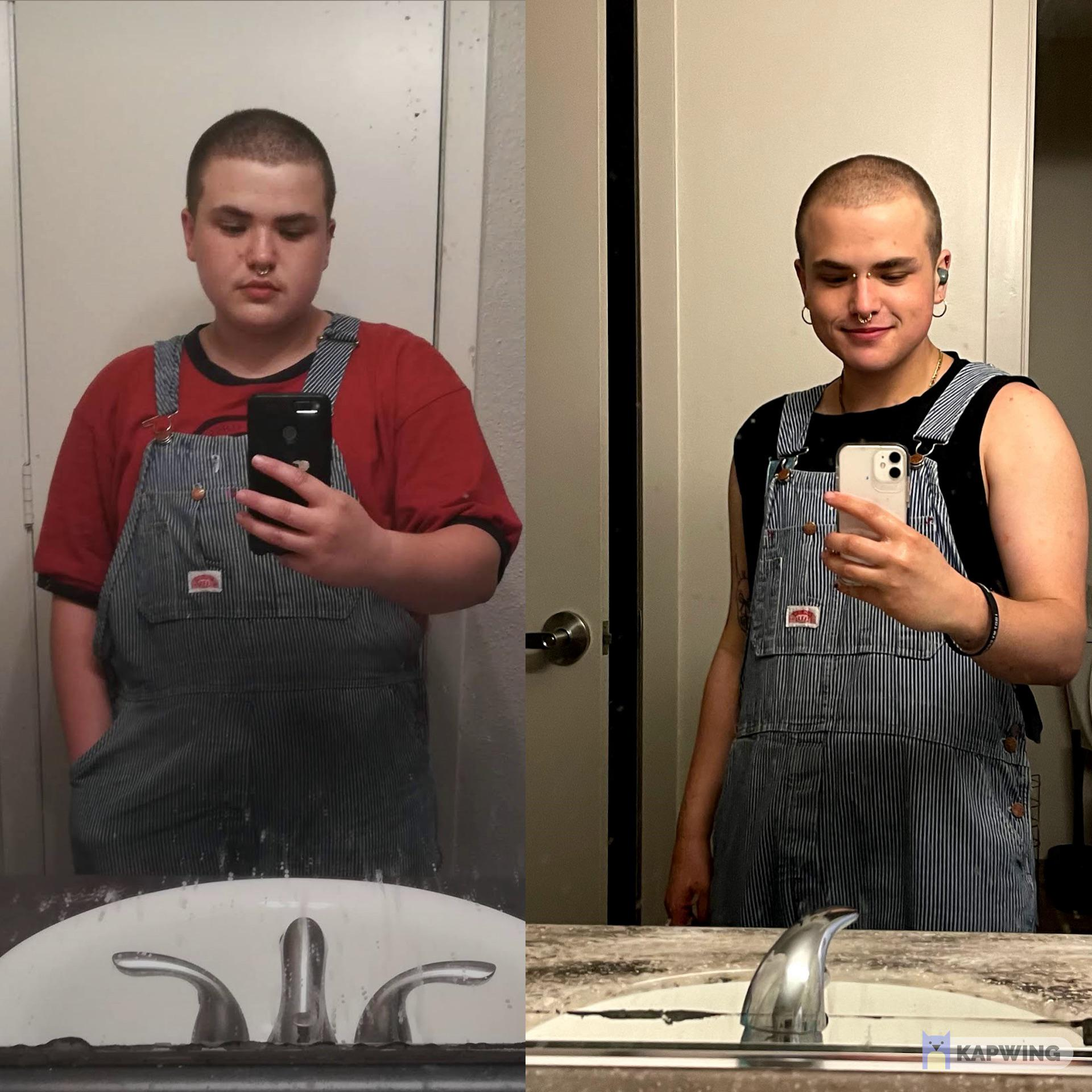 5'3 Male Before and After 58 lbs Weight Loss 213 lbs to 155 lbs