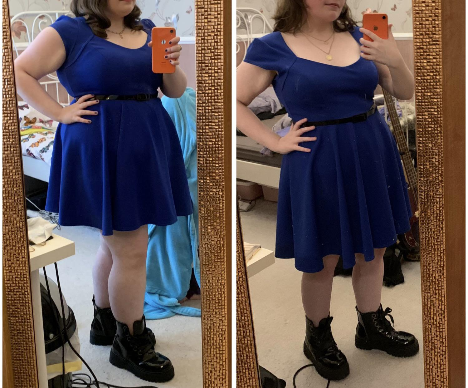 5 foot Female Before and After 52 lbs Weight Loss 202 lbs to 150 lbs