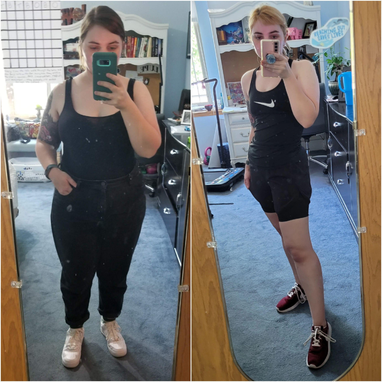 Progress Pics of 57 lbs Weight Loss 5'2 Female 195 lbs to 138 lbs
