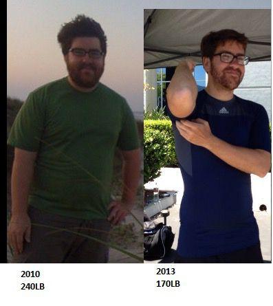 5 feet 8 Male 70 lbs Weight Loss 240 lbs to 170 lbs