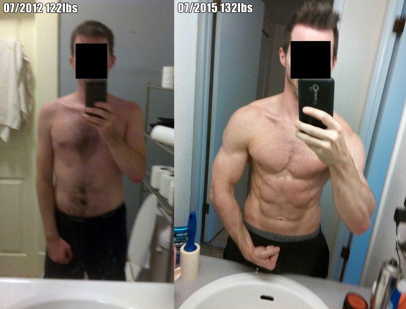 5 foot 6 Male Progress Pics of 10 lbs Weight Gain 122 lbs to 132 lbs