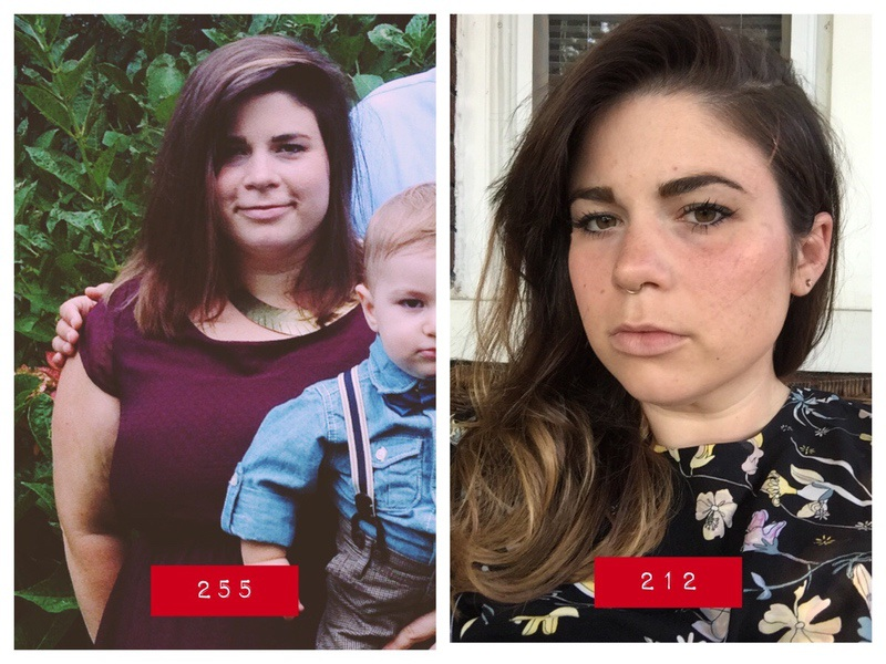 5'5 Female Before and After 88 lbs Fat Loss 300 lbs to 212 lbs