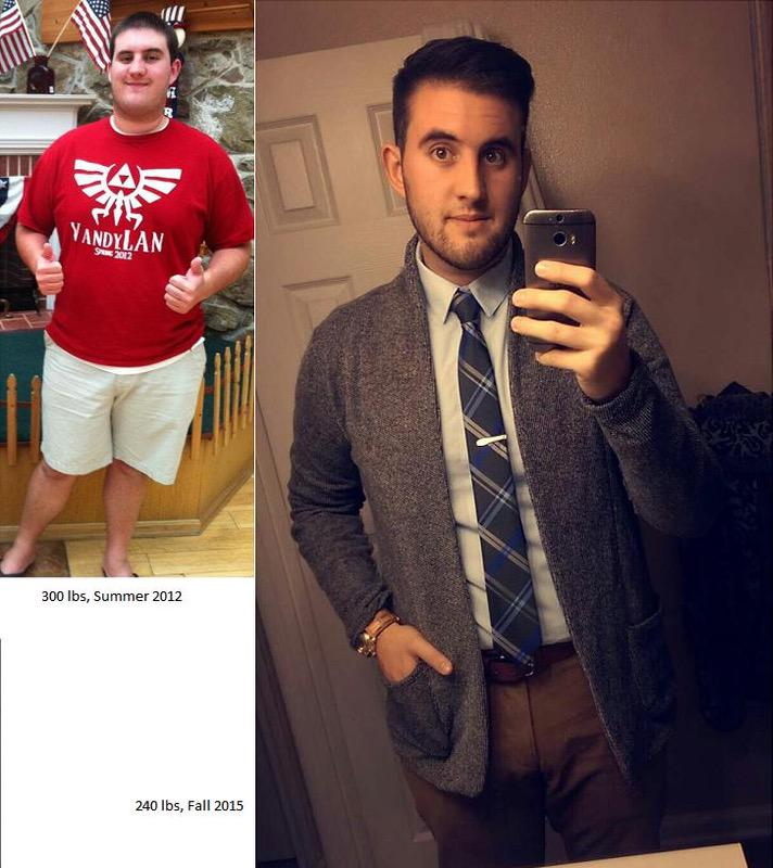6 feet 3 Male Before and After 60 lbs Weight Loss 300 lbs to 240 lbs