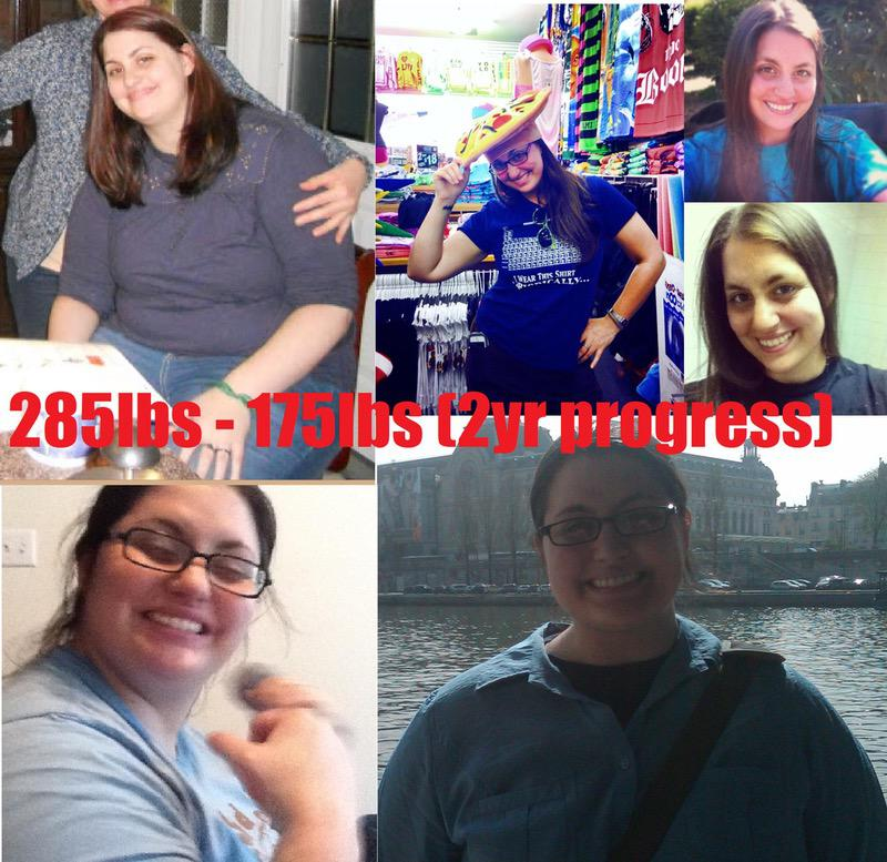 5 feet 8 Female Before and After 110 lbs Fat Loss 285 lbs to 175 lbs