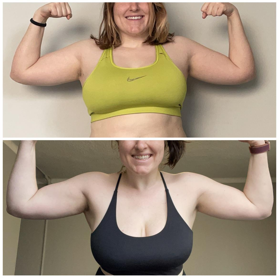 5 foot 5 Female Before and After 7 lbs Weight Loss 189 lbs to 182 lbs