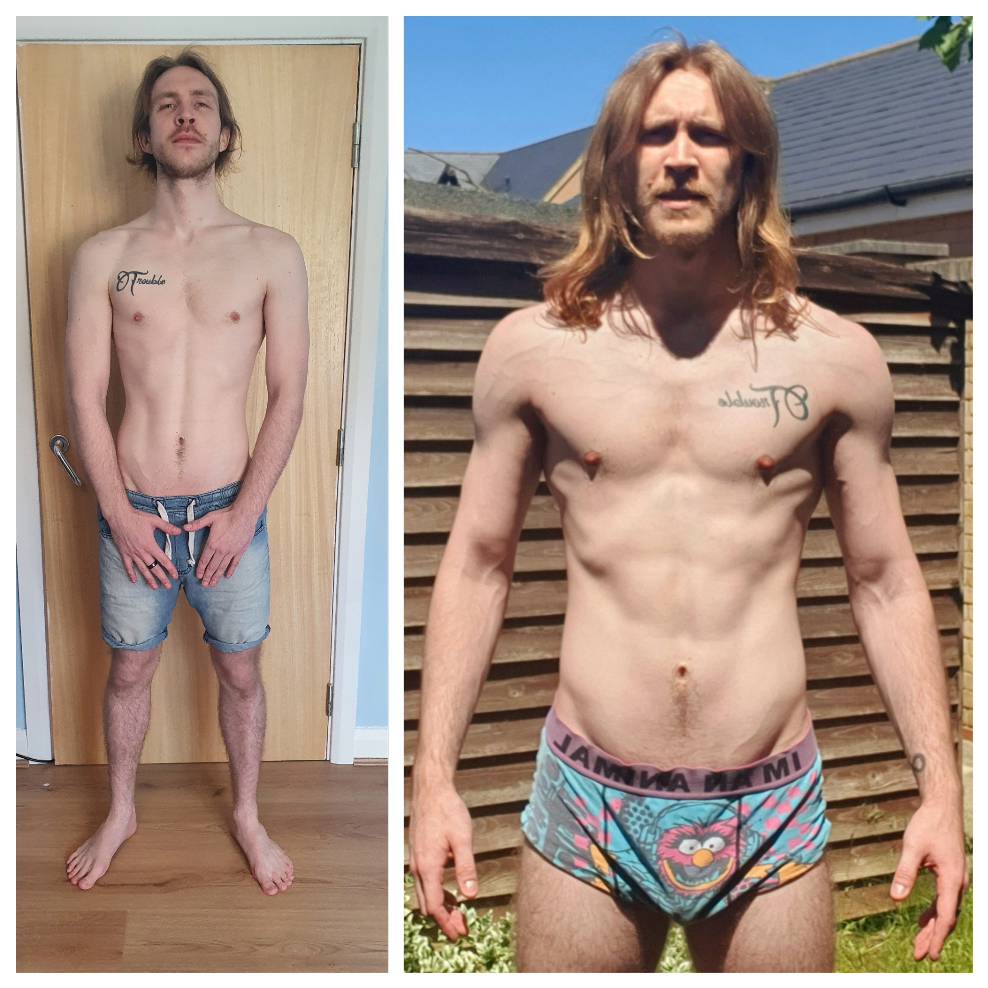 6'1 Male Progress Pics of 21 lbs Muscle Gain 147 lbs to 168 lbs