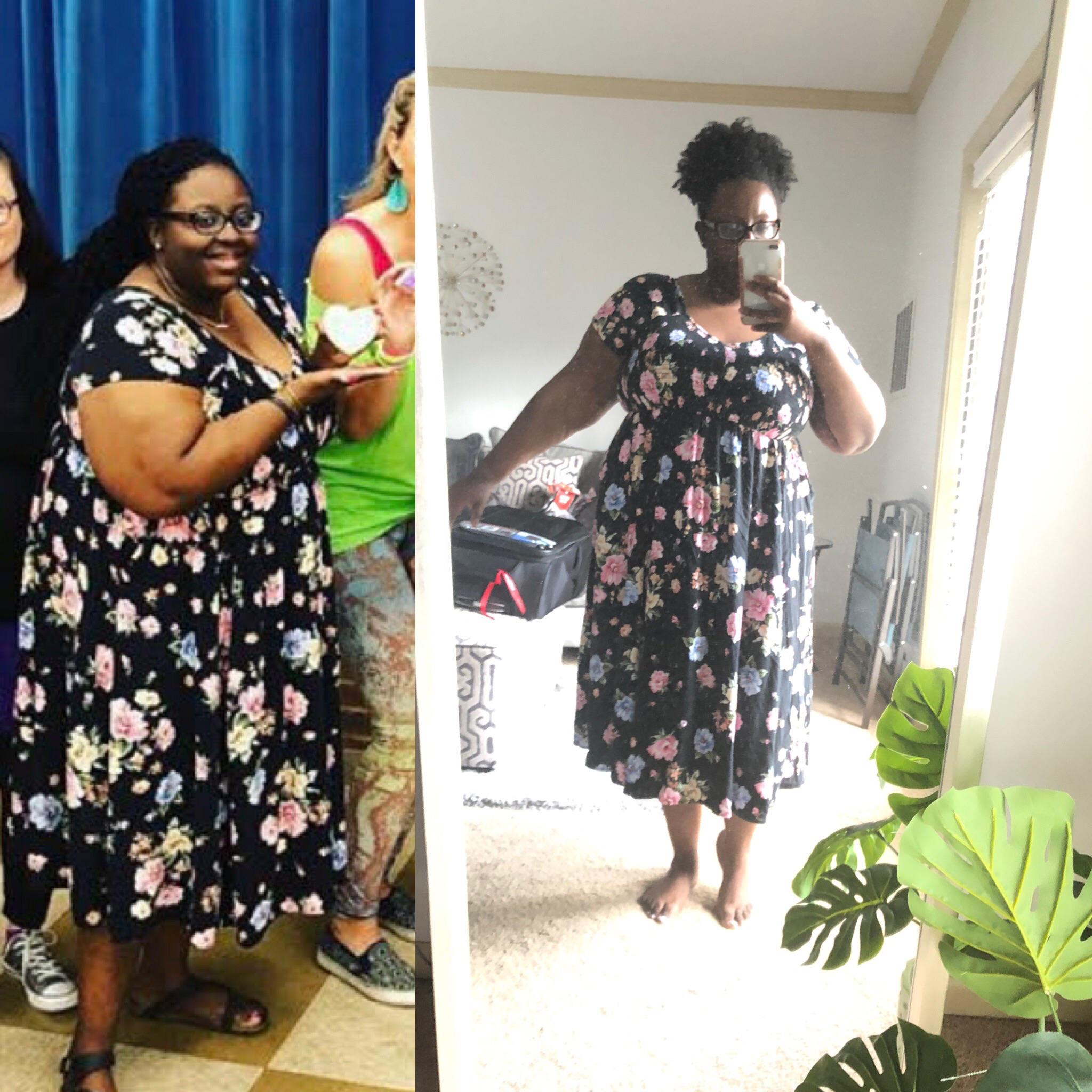 Before and After 44 lbs Fat Loss 5 foot 4 Female 268 lbs to 224 lbs