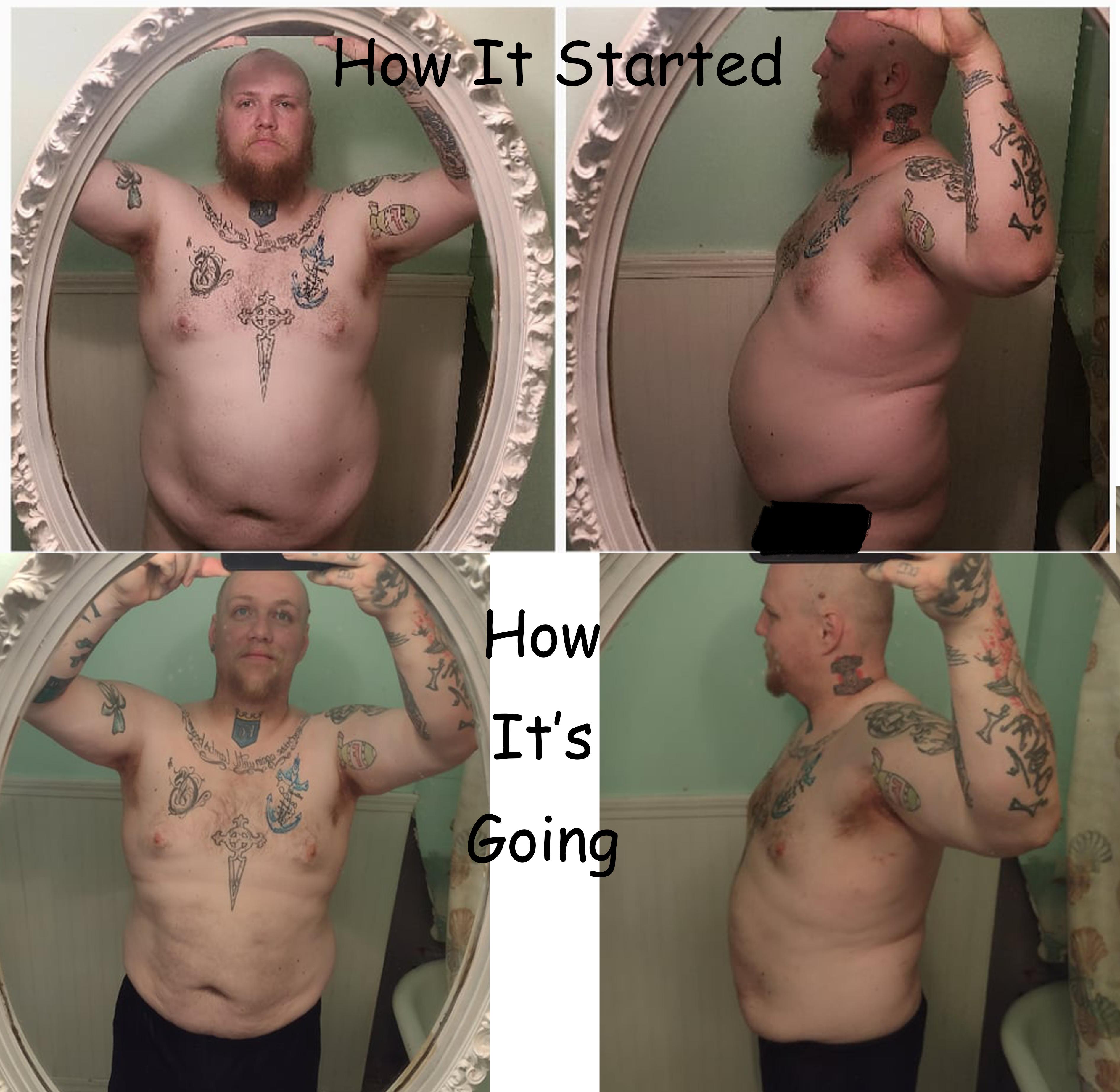 6 foot 3 Male Progress Pics of 35 lbs Fat Loss 317 lbs to 282 lbs