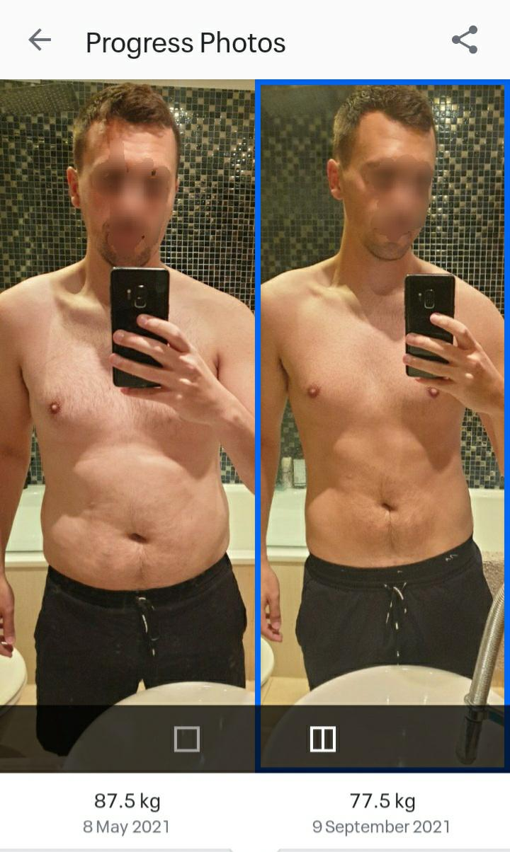 Before and After 21 lbs Weight Loss 5'11 Male 192 lbs to 171 lbs