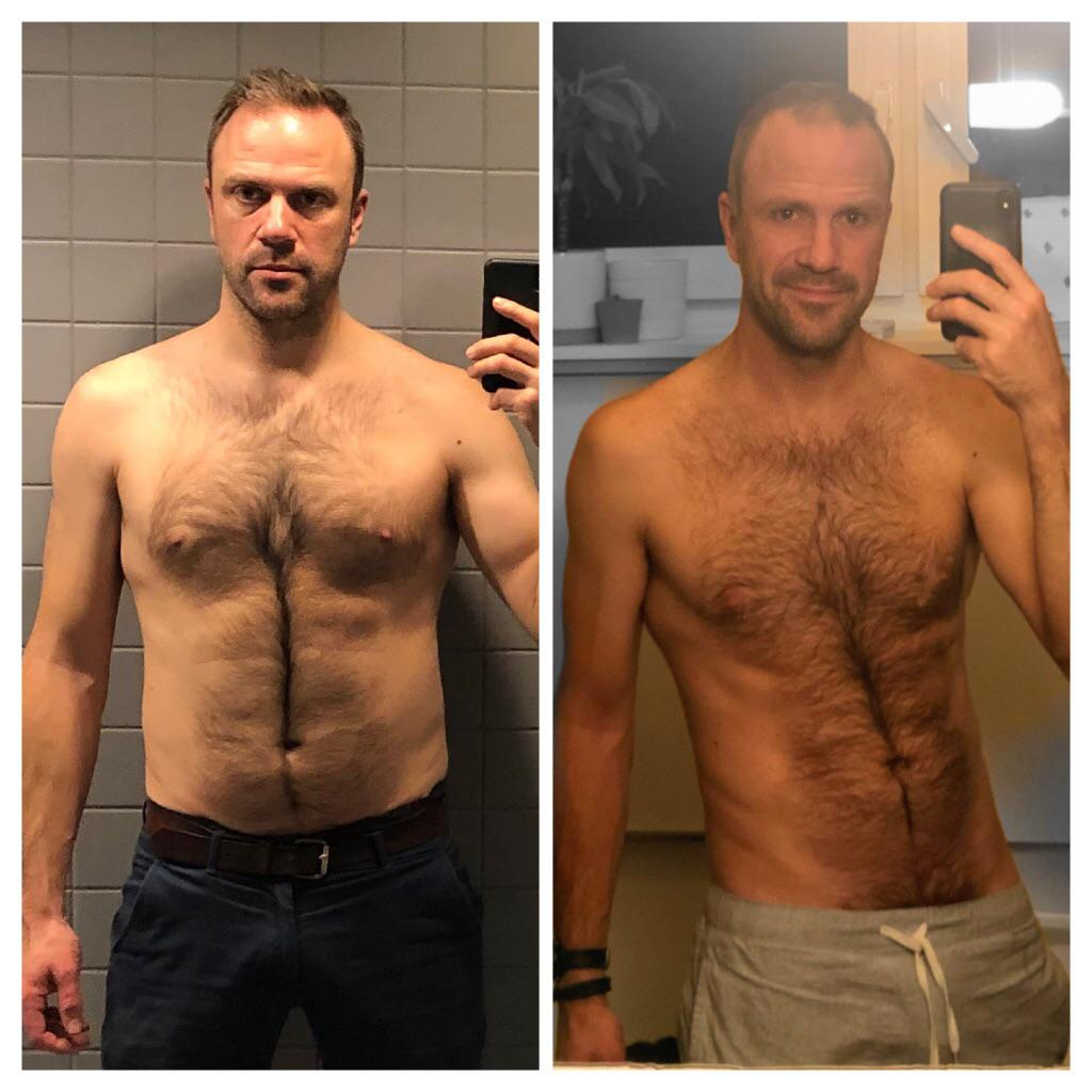 6 feet 2 Male Before and After 27 lbs Weight Loss 210 lbs to 183 lbs