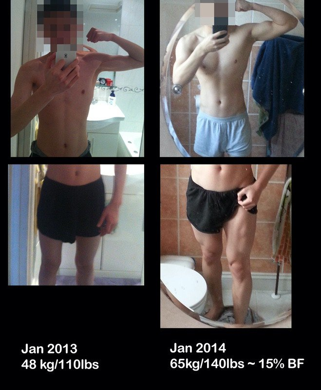 Before and After 30 lbs Weight Gain 5 feet 7 Male 110 lbs to 140 lbs